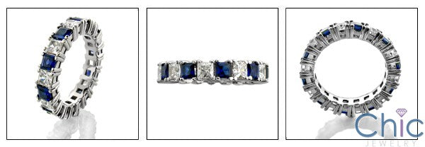 Sapphire Diamond CZ Eternity Prong Set Band