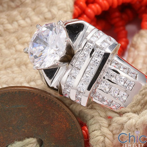 Heavy And  Wide 2.5 Round Center Cubic Zirconia 14K White Gold Engagement Ring