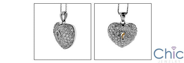 Cubic Zirconia Cz Two Tone Heart Shaped Lock Pendant