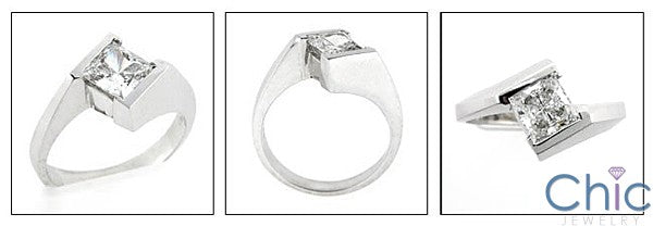 Solitaire Princess 1 Ct channel Cubic Zirconia Cz Ring