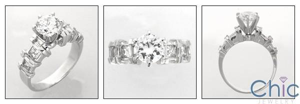 1 Carat Round High Quality Cubic Zirconia Engagement Ring Channel Baguettes Princess Sides 14K White Gold