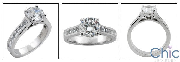 Engagement 1.5 Round 4 prong princess Channel Cubic Zirconia Cz Ring