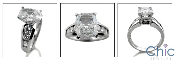 Engagement 2.5 Ct Cushion Radiant Channel Round Cubic Zirconia Cz Ring