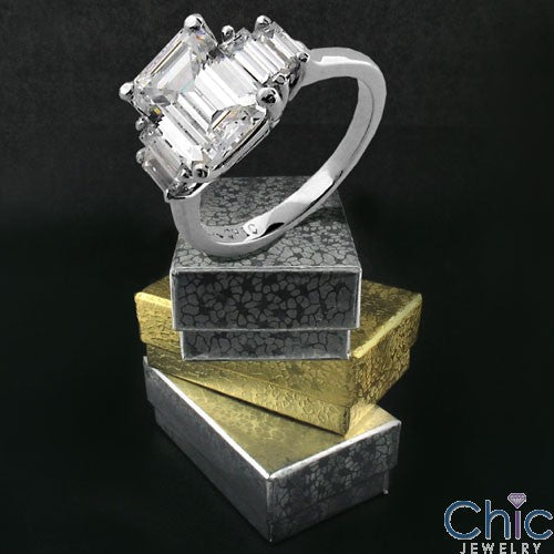 Emerald Cut 3 Carat Cubic Zirconia Center Channel Baguettes 14K White Gold Ring
