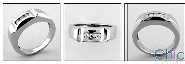 Mens Channel 3 Round Stone Cubic Zirconia CZ Wedding Band