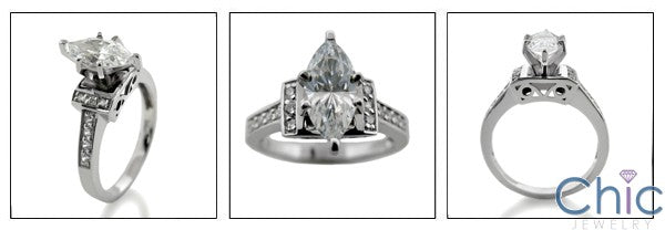 Anniversary 1 Ct marquise Pave Cubic Zirconia Cz Ring