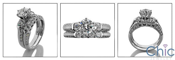 Matching Set 2.35 Ct Round Wedding Cubic Zirconia Cz Ring
