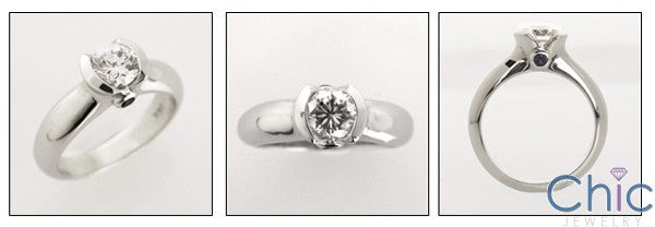 Solitaire 0.70 Ct Round in Half Bezel Cubic Zirconia Cz Ring