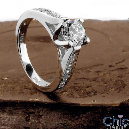Engagement Ca dral Style .75 Round Center Cubic Zirconia Cz Ring