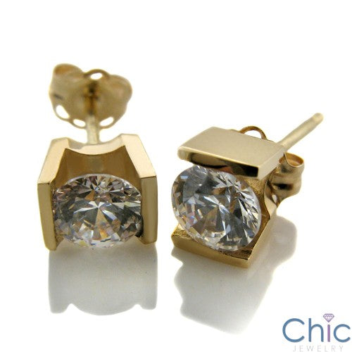Round 2 Ct Channel Set Cubic Zirconia CZ Earrings