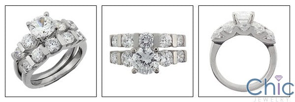 Matching Set 3 Round Prong Ct Channel Cubic Zirconia Cz Ring