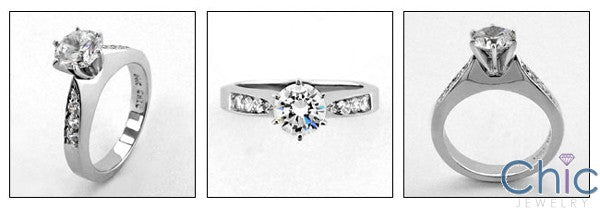 Engagement Bridal Ring 1.0 Ct Round center Cubic Zirconia Cz Ring