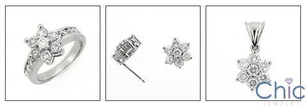 Anniversary Flower Set Ring Earring Ct Pendant Cubic Zirconia Cz Ring