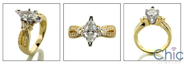 Engagement 1 Ct Marquise Center Pave Cubic Zirconia Cz Ring