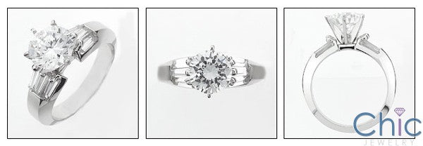 Engagement Round 2 Ct Center Tapered Baguettes Cubic Zirconia Cz Ring