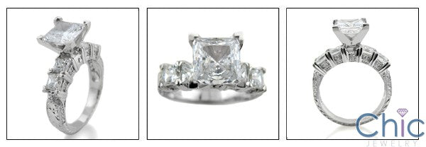 Engagement Princess 2 Ct Center HCt Engraved Shank Cubic Zirconia Cz Ring