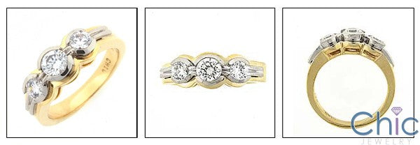 Cubic Zirconia 3 Stone Round Half Bezel Two Tone Gold Cz Ring