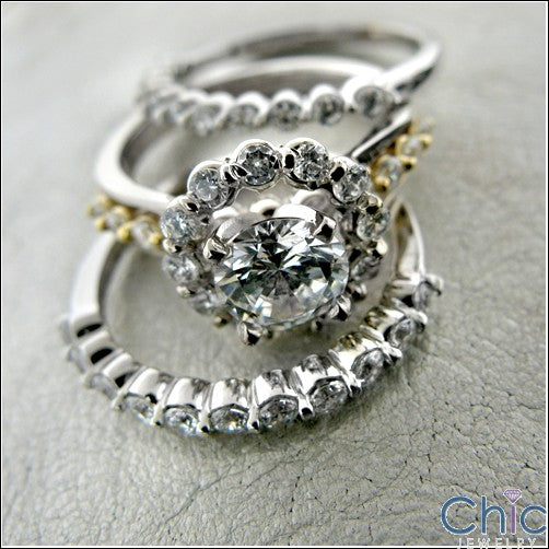 Matching Set 1 Ct Round Center Share Prong 2 Cubic Zirconia Cz Ring