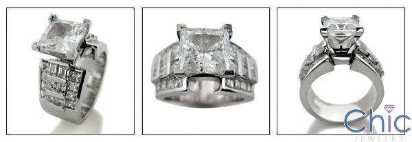 Engagement 2 Ct Princess Center Channel set Heavy Cubic Zirconia Cz Ring