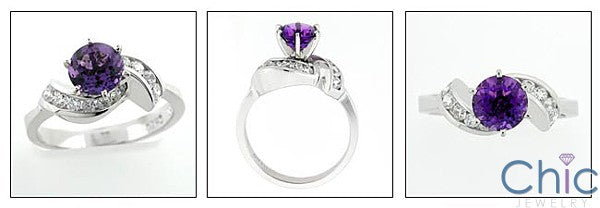 Amethyst Color 1 Carat Round Center Cubic Zirconia Ring 14K White Gold