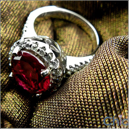 Estate 5 Ct Oval Ruby Cubic Zirconia Cz Ring