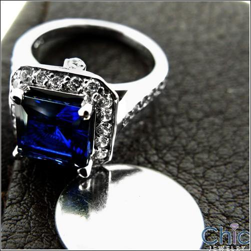 1.5 Sapphire Princess Center Cubic Zirconia Anniverary 14K White Gold Ring