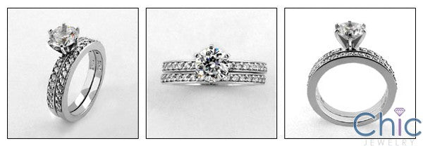 Matching Set 1 Round Center Pave Fitted Cubic Zirconia Cz Ring
