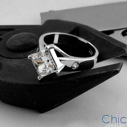 Engagement 1.5 Princess Center Kite Position Cubic Zirconia 14K White Gold Ring
