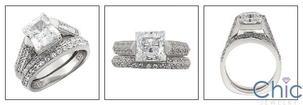 Matching Set 1.5 Princess Center Channel Ct Pave Fitted Cubic Zirconia Cz Ring