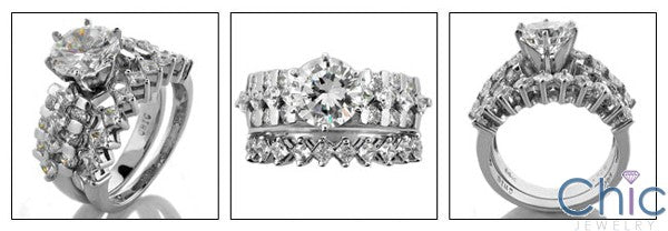 Matching Set 2Ct Round Prong Princess Wedding Cubic Zirconia Cz Ring
