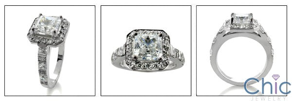 Cubic Zirconia Engagement Ring Princess 1.25 Center Halo Pave 14K White Gold
