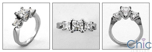 3 Stone 1.35 3 Princess in Prongs Cubic Zirconia Cz Ring