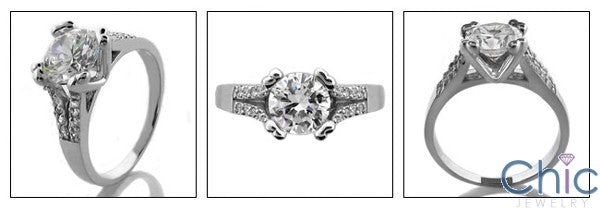Engagement 1.25 Round Center split Cubic Zirconia Cz Ring