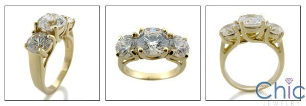 3 Stone Ring 2 Ct Round Center 1 Ct Round each Side Cubic Zirconia White / Yellow Gold Ring