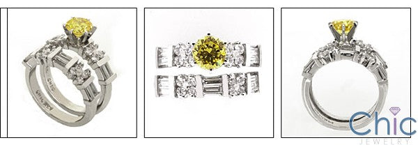 Matching Set Canary Round Stone Baguettes on Cubic Zirconia Cz Ring