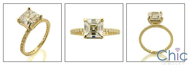 Engagement 3.5 Ct Asscher Center thin eternity Cubic Zirconia Cz Ring