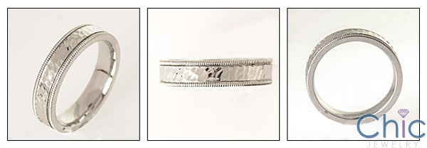 Mens Serrated Edges Hammered Finish Band