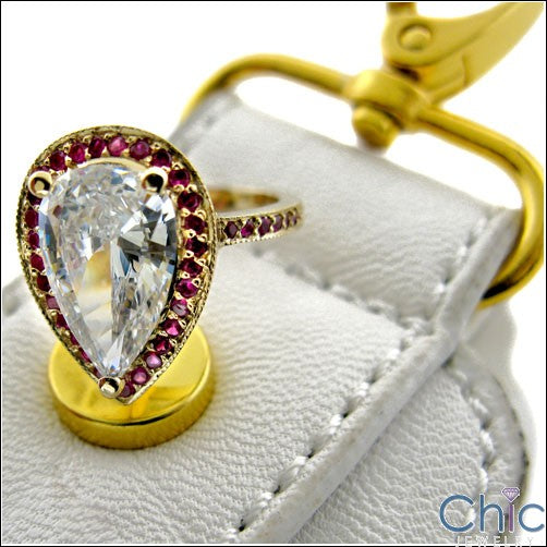 Estate 3.5 Ct Pear Yellow Gold Cubic Zirconia Cz Ring