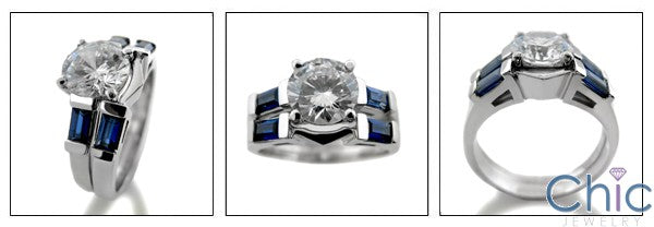 Matching Set 2.25 Round Center Sapphire Baguettes in Channel Cubic Zirconia Cz Ring