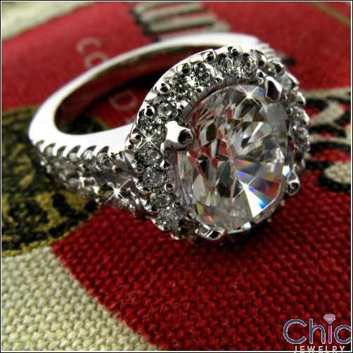 Anniversary Oval 3 Ct Halo Pave Cubic Zirconia Cz Ring