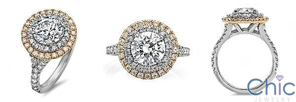 2 Ct Round Stone in Double Halo Two Tone 14K White Gold Pave Cubic Zirconia Engagement Ring