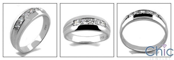 Mens 1 Ct Princess in Channel Cubic Zirconia CZ Wedding Band
