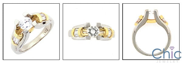 Engagement Round Cubic Zirconia Channel Baguettes Two Tone Gold Cz Ring