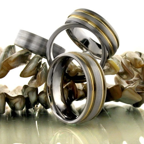 Mens Titanium Ct Gold Striped Wedding Band