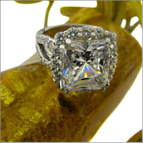 5 Carat Radiant Cubic Zirconia in Halo Round Side Stones Share Prong Engagement 14K White Gold Ring