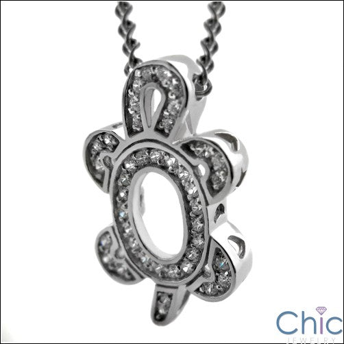 Cubic Zirconia Cz Turtle Charm in Pave Set Round Pendant