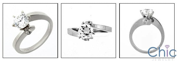 Solitaire 1 Ct Round Twist Shank Cubic Zirconia Cz Ring