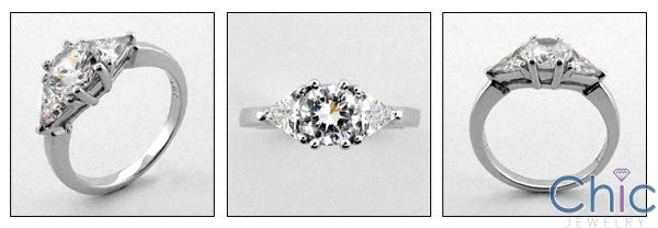 3 Stone 2 Round Trillion Prongs Cubic Zirconia Cz Ring