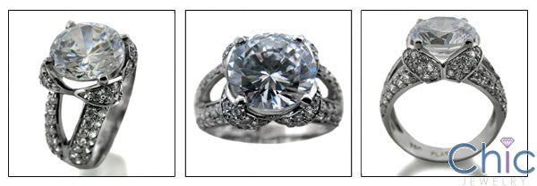 Estate 3 Ct Round Center Pave Cubic Zirconia Cz Ring