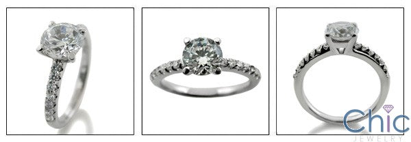 Engagement 1.25 Ct Round Center .30 Pave Cubic Zirconia Cz Ring